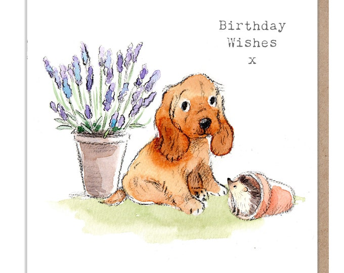 Dog Birthday Card - Quality Greeting Card - Charming illustration - 'Absolutely barking' range - Cocker spaniel- Made in UK -  ABE040