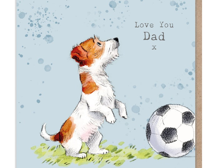 Fathers Day - Love you Dad -Quality Greeting Card - Charming illustration - 'Absolutely barking' range - Jack Russell - Made in UK - ABE018
