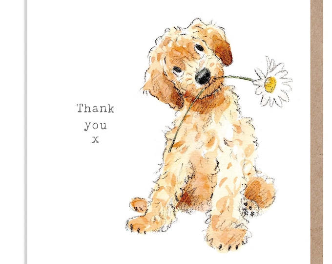 Thank You Card - Quality Greeting Card - Charming Dog illustration - 'Absolutely barking' range -  Cockapoo - Made in UK -  ABE014