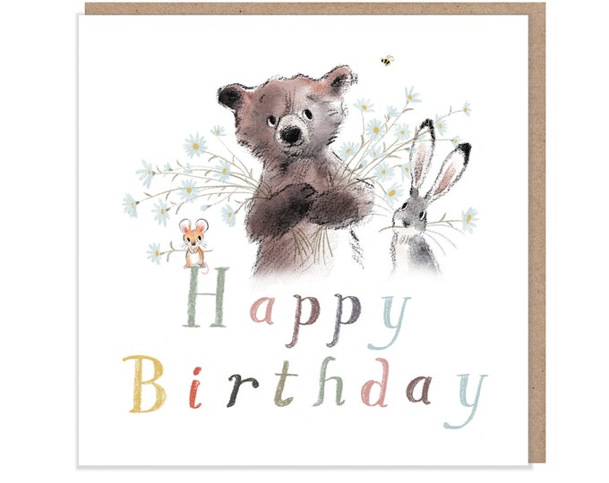 Happy Birthday, Quality Greeting Card, 'the Bear, the Hare, and the Mouse' , heart warming Illustrations, made in UK, no plastic, BHME05