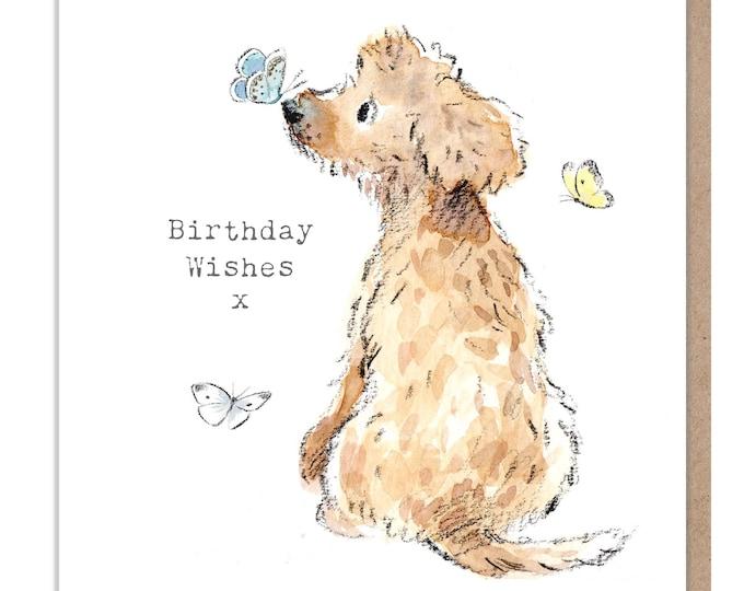Dog Birthday Card - Quality Greeting Card - Charming illustration - 'Absolutely barking' range - Cockapoo/Labrador - Made in UK -  ABE044