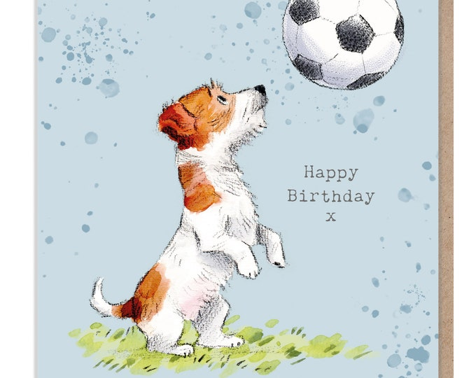 Birthday Card - Quality Greeting Card - Charming illustration - 'Absolutely barking' range - Jack Russell - Made in UK -  ABE011