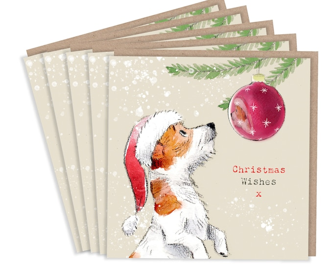 5 Quality Christmas Cards - 1 design 5 Cards  - Christmas Card pack - dog cards - Charming Jack Russell illustration- Made in UK -no plastic