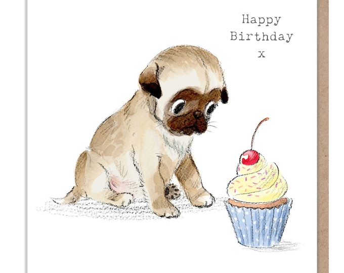Dog Birthday Card - Quality Greeting Card - Charming illustration - 'Absolutely barking' range - Pug puppy - Made in UK -  ABE08