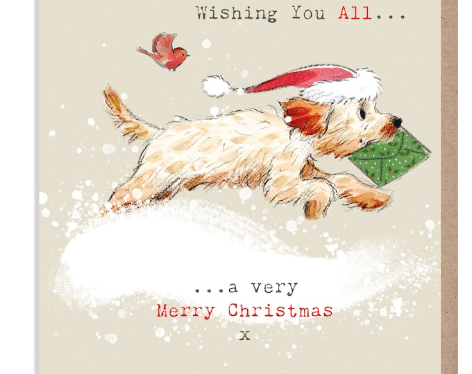 To you all.. Christmas Card - Quality Christmas Card - 'Absolutely barking' range- Cockerpoo/Labradoodle illustration - Made in UK -  ABX012
