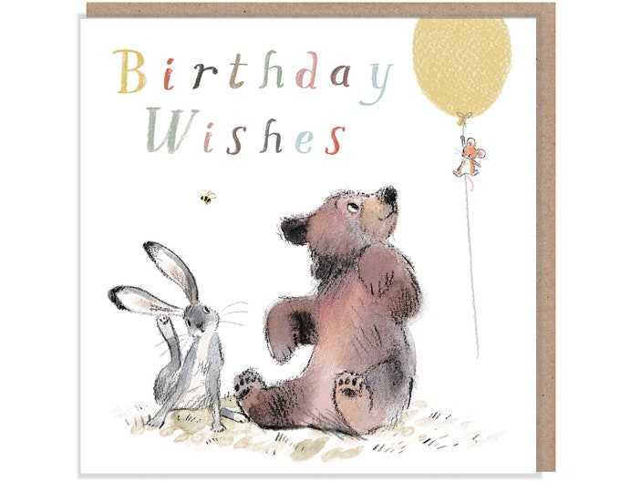 Birthday Wishes, Quality Greeting Card, 'the Bear, the Hare, and the Mouse' , heart warming Illustrations, made in UK, no plastic, BHME07