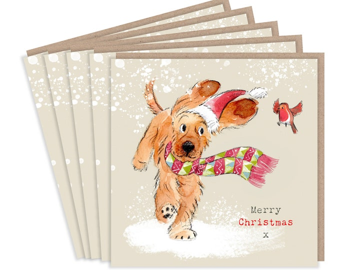 5 Quality Christmas Cards - 1 design 5 Cards  - Christmas Card pack - dog cards - Charming Cocker Spaniel illustration- Made in UK