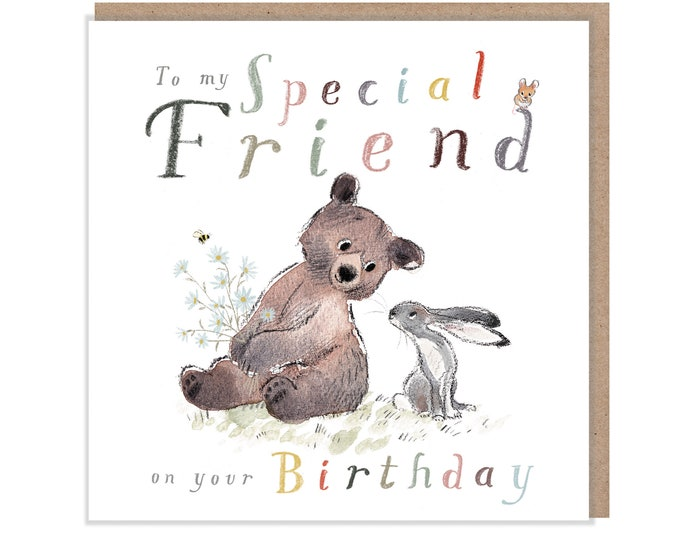 Special Friend Birthday, Quality Greeting Card, 'the Bear, the Hare, and the Mouse', heart warming Illustrations, made in UK, BHME04