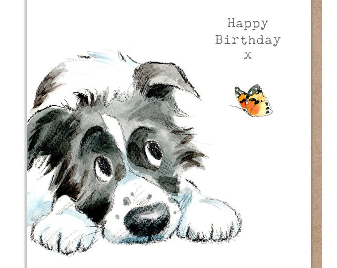 Dog Birthday Card - Quality Greeting Card - Charming illustration - cute dog- 'Absolutely barking' range - Collie Dog - Made in UK -  ABE045