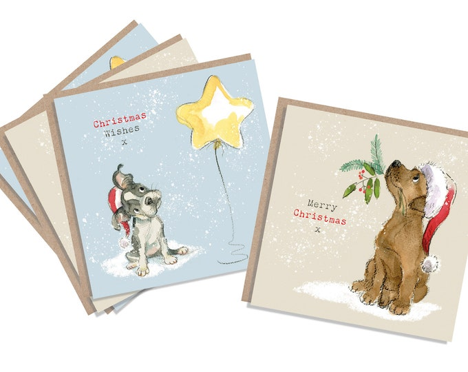 4  Quality Christmas Cards  - 2 design - 4 cards  - Charming Dog illustrations - Chocolate Labrador - French bulldog - made in England