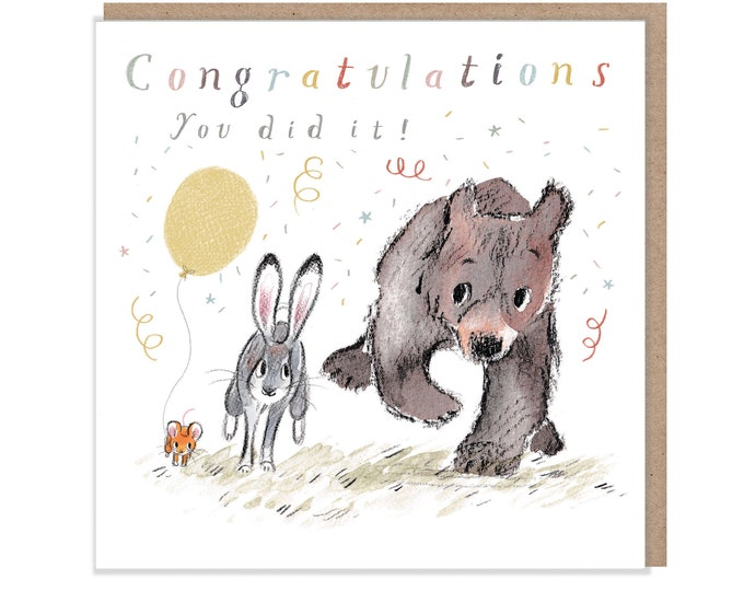 Congratulations you did it!, Quality Greeting Card, 'the Bear, the Hare, and the Mouse' , heart warming Illustrations, made in UK, BHME08