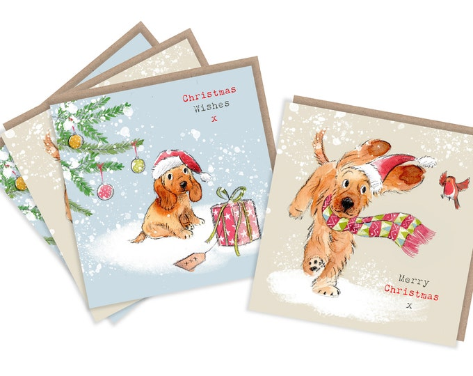 4  Quality Christmas Cards  - 2 design - 4 cards  - Charming Cocker Spaniel Illustrations- made in England - No plastic Packaging