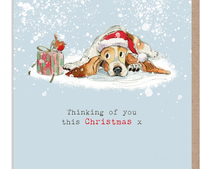 Thinking of you Christmas card - Dog Christmas Card - Charming illustration - 'Absolutely barking' range - Basset hound - Made in UK - ABX02