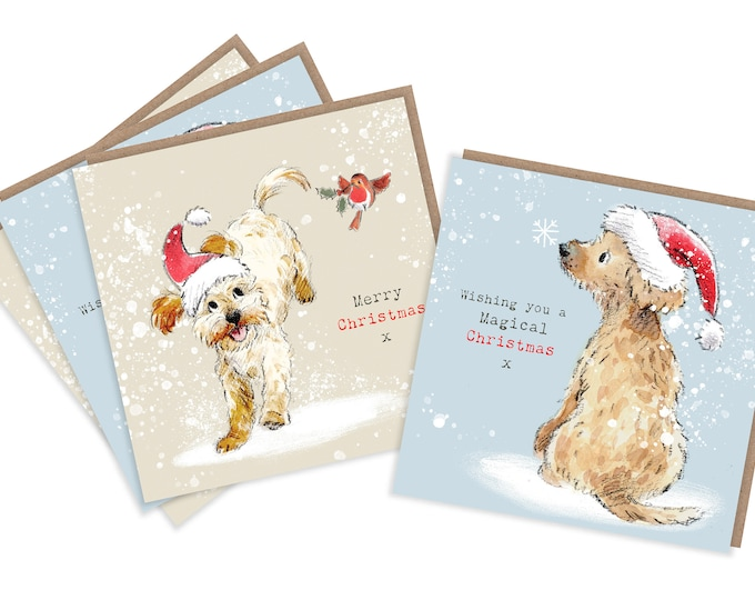 4  Quality Christmas Cards  - 2 design - 4 cards  - Charming Cockerpoo/Labradoodle Illustrations- made in England - No plastic Packaging