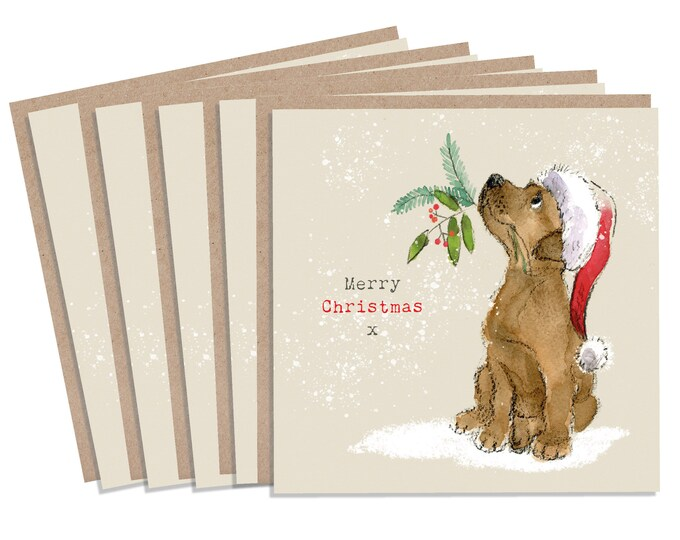 5 Quality Christmas Cards - 1 design 5 Cards  - Christmas Card pack - dog cards - Charming illustration - Chocolate Labrador - Made in UK