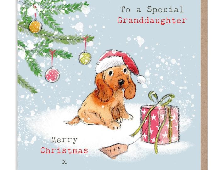 GRANDDAUGHTER Christmas Card - Quality Christmas Card  - 'Absolutely barking' range - Cocker Spaniel Illustration - Made in UK -  ABX08