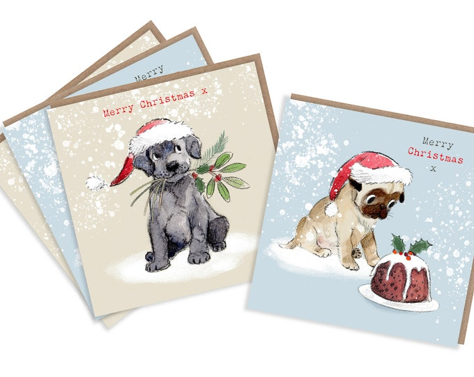 4  Quality Christmas Cards  - 2 design - 4 cards  - Charming Pug and Black Labrador Illustrations - made in England - No plastic Packaging
