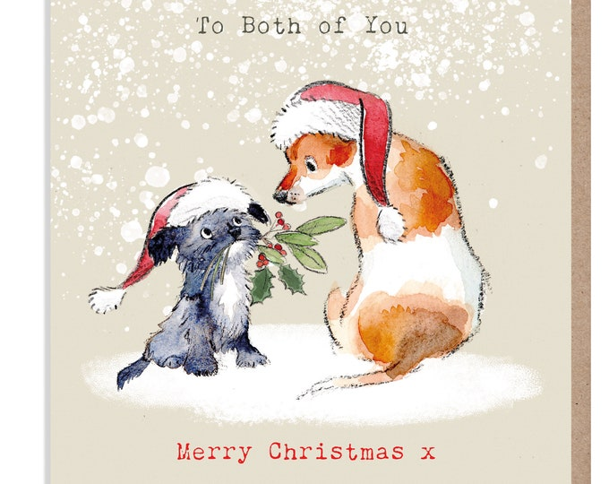 To you Both Christmas Card - Quality Christmas Card - Charming illustration - 'Absolutely barking' range- Jack Russell- Made in UK -  ABX019