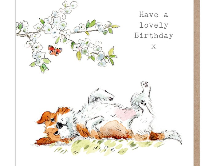 Dog Birthday Card - Quality Greeting Card - Charming illustration - 'Absolutely barking' range - Jack Russell - Made in UK -  ABE037