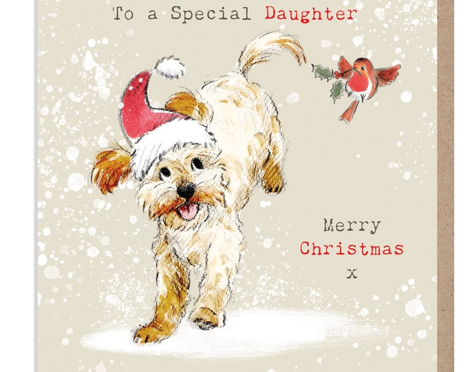 Daughter Christmas Card - Quality Christmas Card - 'Absolutely barking' range - Cockerpoo/Labradoodle Illustration - Made in UK - ABX014