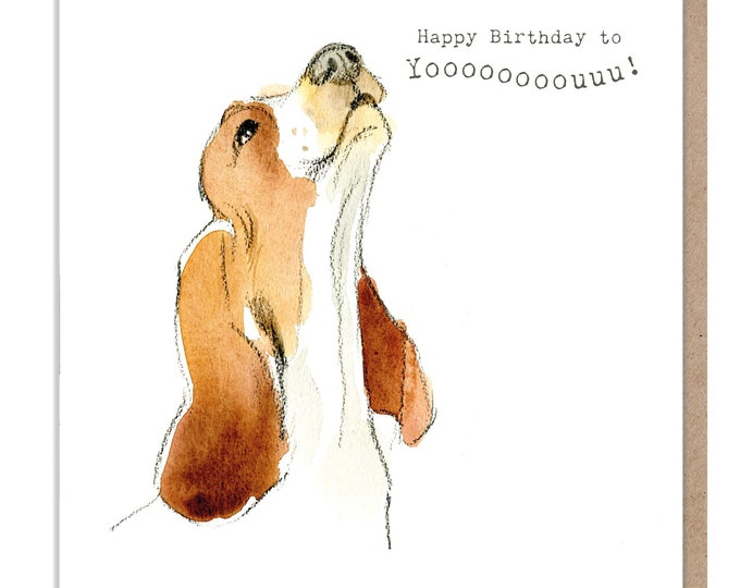 Dog Birthday Card - Quality Greeting Card -Charming illustration -cute dog- 'Absolutely barking' range - Basset Hound - Made in UK -  ABE047