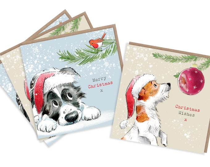 4  Quality Christmas Cards  - 2 design - 4 cards  - Charming Dog illustrations - Border Collie  and Jack Russell designs - made in England
