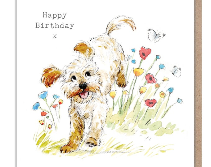 Dog Birthday Card - Quality Greeting Card - Charming illustration - 'Absolutely barking' range - Cockapoo/Labradoodle - Made in UK -  ABE07