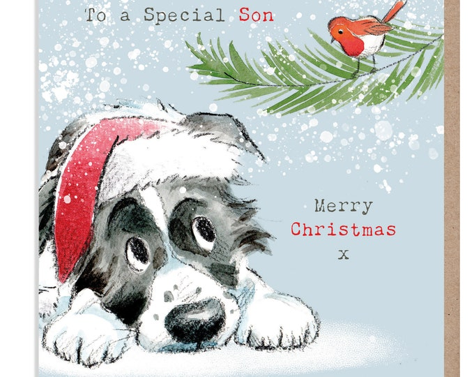 SON Christmas Card - Quality Christmas Card - Charming illustration - 'Absolutely barking' range- Border Collie- Made in UK -  ABX017