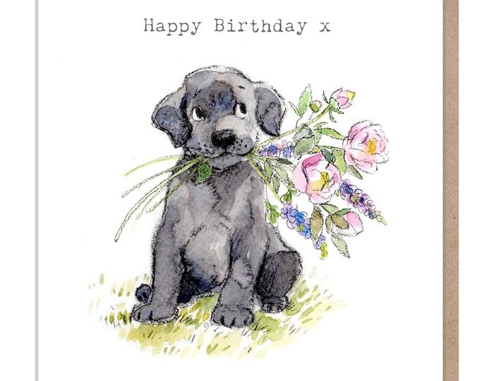 Dog Birthday Card - Quality Greeting Card - Charming illustration - 'Absolutely barking' range - Black Labrador - Made in UK -  ABE042