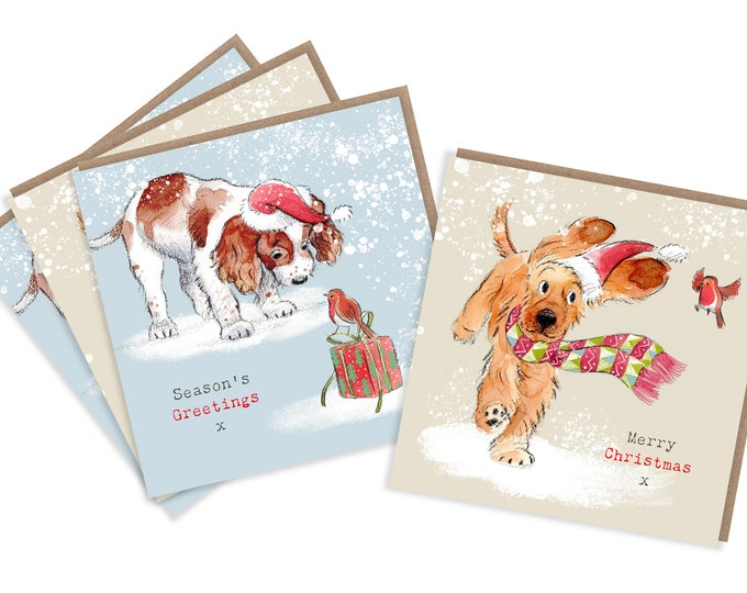 4  Quality Christmas Cards  - 2 design - 4 cards  - Charming Dog illustrations - Springer Spaniel and Cocker spaniel designs - made in UK