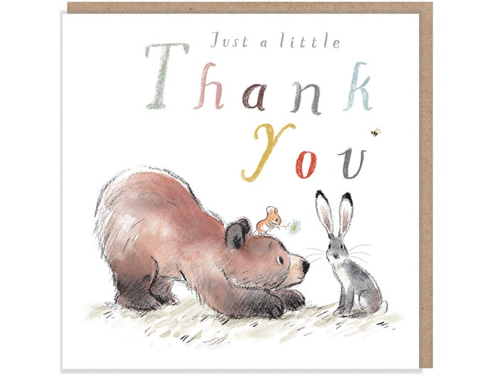 Thank you, Quality Greeting Card, 'the Bear, the Hare, and the Mouse', heart warming Illustrations, made in UK, BHME06