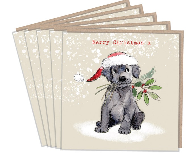 5 Quality Christmas Cards - 1 design 5 Cards  - Christmas Card pack - dog cards - Charming illustration - Black Labrador - Made in UK