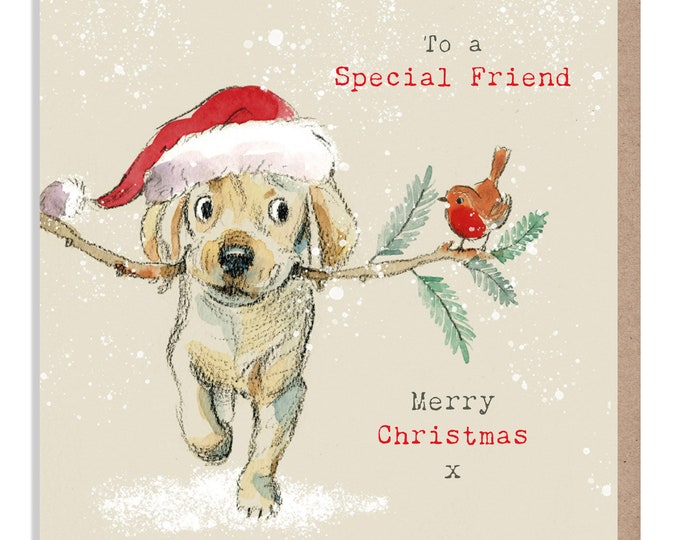 Special Friend Christmas Card - Quality Greeting Card - Charming illustration - 'Absolutely Barking'-  Labrador puppy - Made in UK -  ABX03