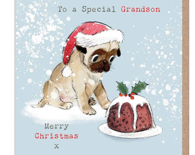 GRANDSON Christmas Card - Quality Christmas Card - Charming Pug illustration - 'Absolutely barking' range- Made in UK -  ABX013