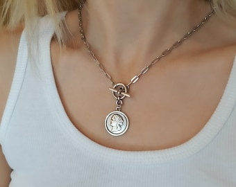 Silver Coin Necklace, Silver Toggle Necklace, Coin Pendant Necklace, Silver Statement Necklace.