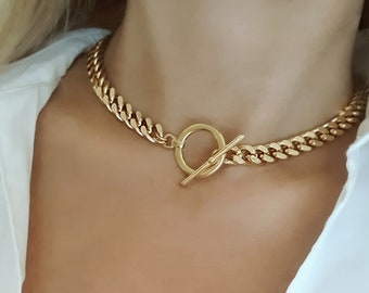 Chunky Gold Curb Chain Choker, Gold Chunky Toggle Choker, Statement Necklace, Cuban Link Chain Necklace, Curb Chain Necklace.