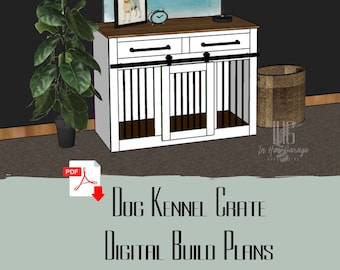 """48"""" DIY Build Plans for Single Dog Kennel with Drawers - Dog Crate Furniture - Build Plans for Dog Crate"""