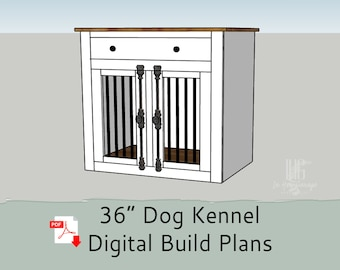 """36"""" DIY Build Plans for Single Dog Kennel with Storage - Dog Crate Furniture - Dog Kennel Furniture"""