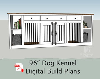 """96"""" DIY Build Plans for Single or Double Dog Kennel with Storage - Dog Crate Furniture - Dog Kennel Furniture"""
