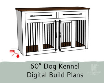 """60"""" DIY Build Plans for Single or Double Dog Kennel with Storage - Dog Crate Furniture - Dog Kennel Furniture"""