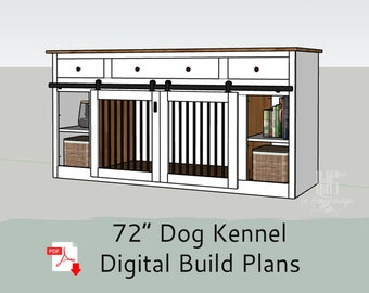 """72"""" DIY Build Plans for Single or Double Dog Kennel with Storage - Dog Crate Furniture - Dog Kennel Furniture"""