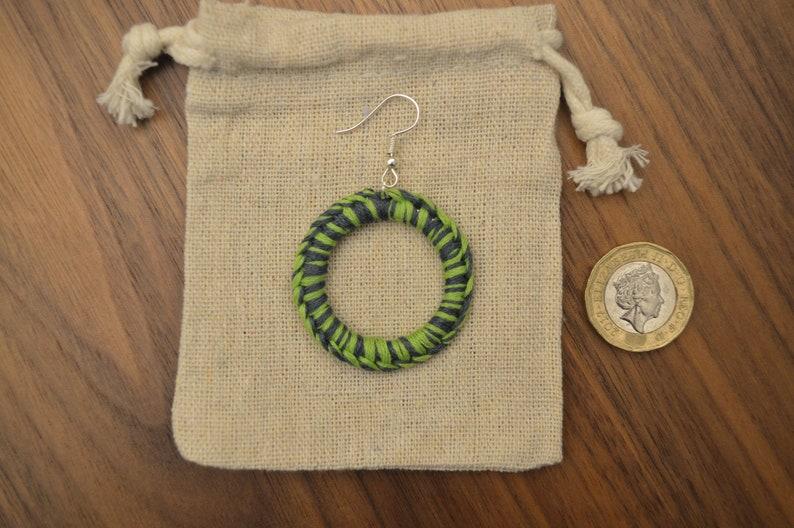 neon green and dark blue earrings Handmade earrings