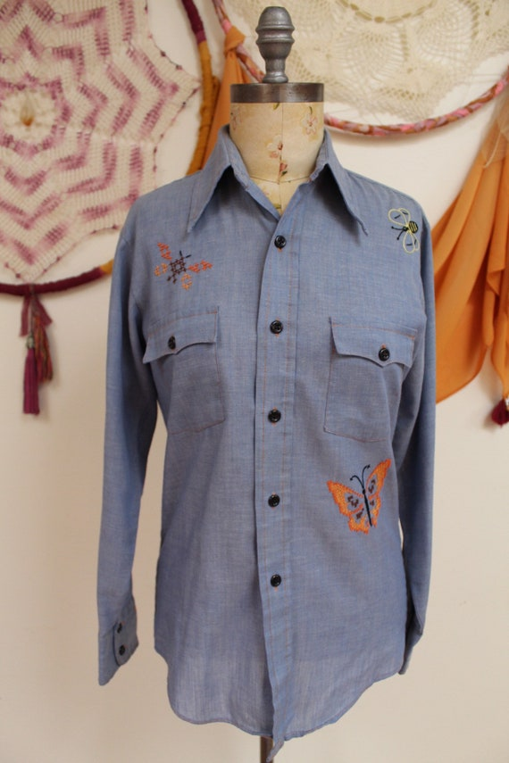 Butterfly & Bee Embroidered Chambray Button Down B