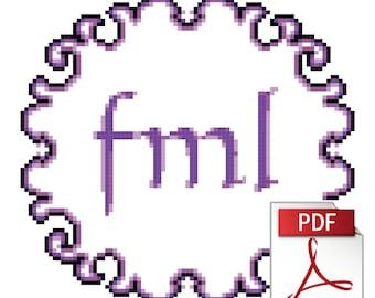 FML... - Downloadable Swearyish Instant PDF Cross Stitch Pattern, Somewhat Goth
