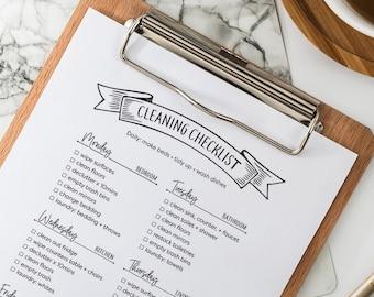 Minimalist Cleaning Checklist Printable , Weekly Cleaning Schedule, Minimalist Organization