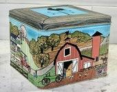 Square Vintage Red Barn and Farm House Scene Tin Box, Vintage Tin Storage Container, Farmhouse Tin