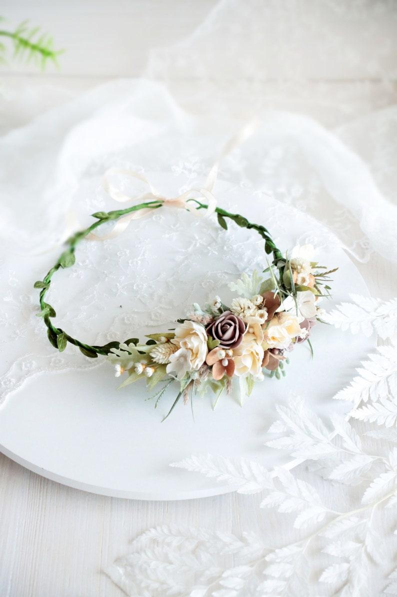 Rustic flower crown,Flower crown Bridesmaid floral crown,Wedding hair wreath wedding crown,Crown of an olive flower,Bridal flower crown