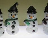 Hand Blown Glass Snowmen Decorative winter snowman christmas snow decorative