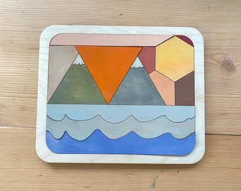 Wooden mountain irregular shape puzzle