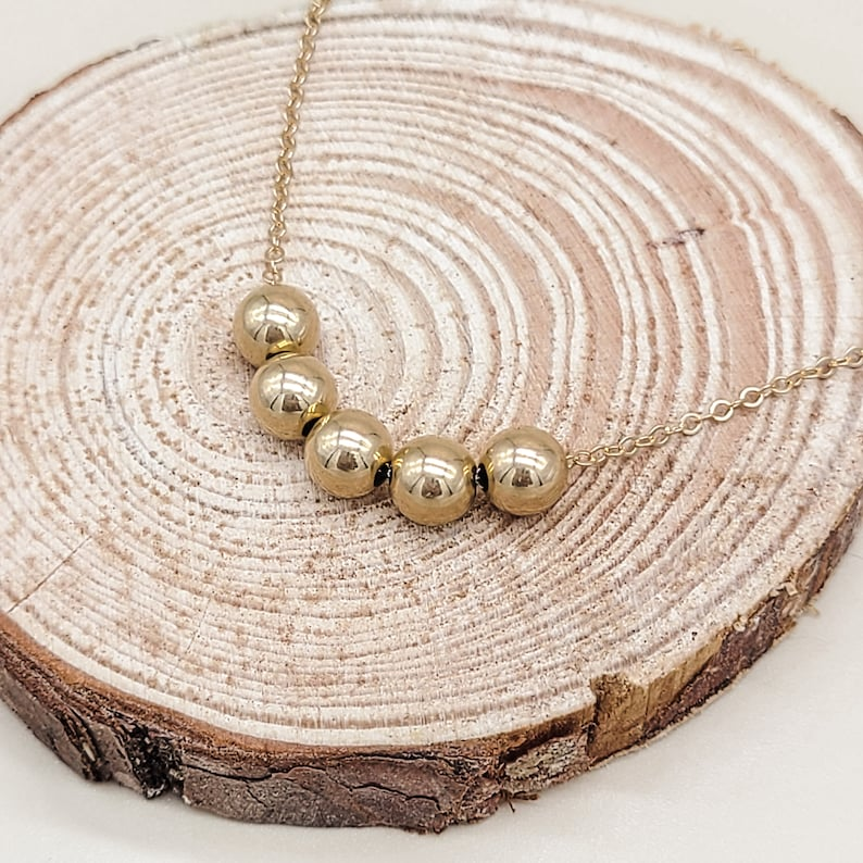 Minimalist Dainty Style Floating Spheres Necklace 14k Gold Filled Delicate Chain Necklace